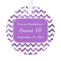 Purple Chevron Pattern Sweet 16 Ornament