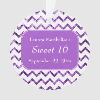 Purple Chevron Pattern Sweet 16 Ornament