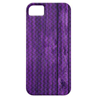 Purple Chevron Pattern Wooden iPhone SE/5/5s Case