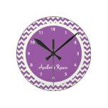 Purple Chevron Personalized Kid's Bedroom Round Wall Clocks