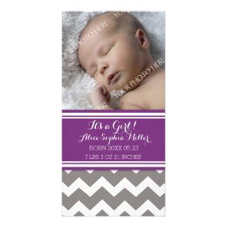 Purple Chevron Photo New Baby Birth Announcement