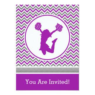 """Purple Chevron Pom or Cheer Party Invitation 5.5"""" X 7.5"""" Invitation Card"""