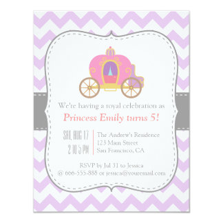 Purple Chevron, Princess Carriage Birthday Party Card