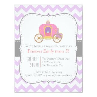Purple Chevron, Princess Carriage Birthday Party Card