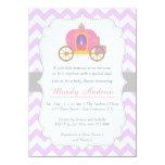 Purple Chevron Princess Carriage, Girl Baby Shower 4.5x6.25 Paper Invitation Card
