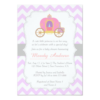 "Purple Chevron Princess Carriage, Girl Baby Shower 4.5"" X 6.25"" Invitation Card"