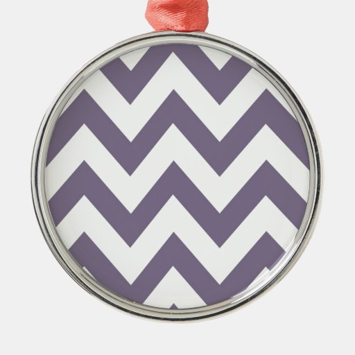 Purple Chevron Round Metal Christmas Ornament