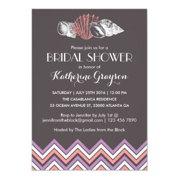 Beach Themed Purple Chevron Seashells Bridal Shower Invitation