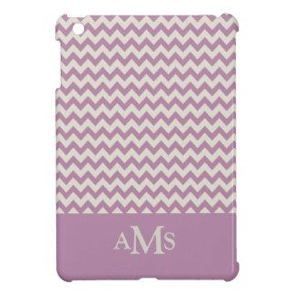 Purple Chevron Stripe 3  Monogram iPad Mini Covers