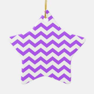 purple chevron stripes ceramic ornament