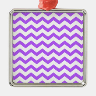 purple chevron stripes metal ornament