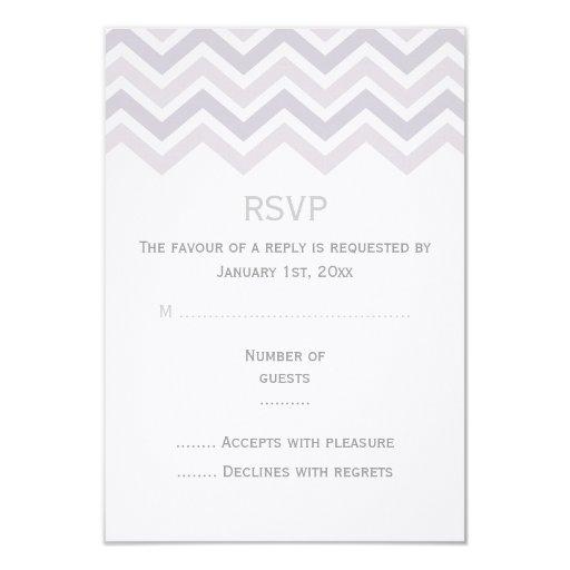 Purple Chevron Wedding RSVP Card