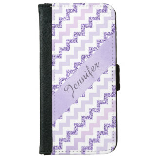 Purple Chevron Zigzag Glitter Monogramed Wallet Phone Case For iPhone 6/6s