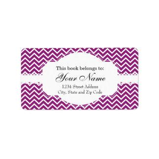 Purple Chevron Zigzag Stripes Label