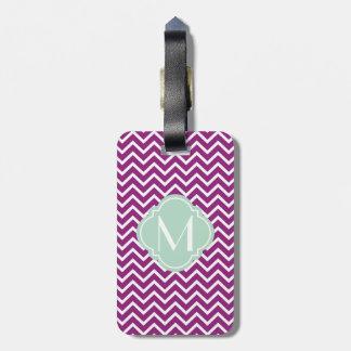 Purple Chevron Zigzag Stripes with Monogram Travel Bag Tags