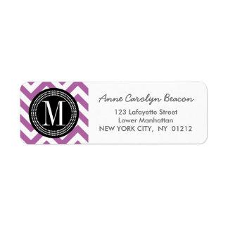 Purple Chevron Zizgag Personalized Monogram Label