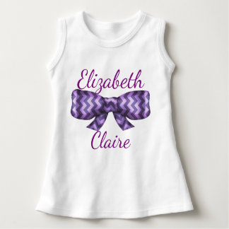 Purple Chevrons Bow - Personalized Baby's Name Dress