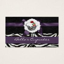 purple chic cupcake business Cards