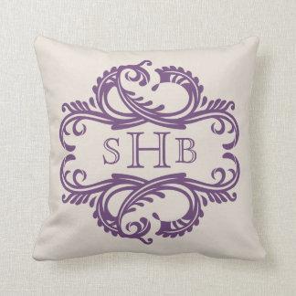 Purple Chic Damask Monogram Pillow