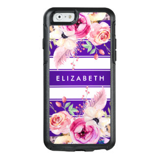 Purple Chic Floral Stripe OtterBox iPhone 6 Case