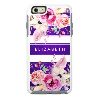 Purple Chic Floral Stripe OtterBox iPhone 6 Case