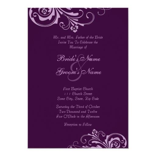 "Purple Chic Floral Wedding Invitation 5"" X 7"" Invitation Card"