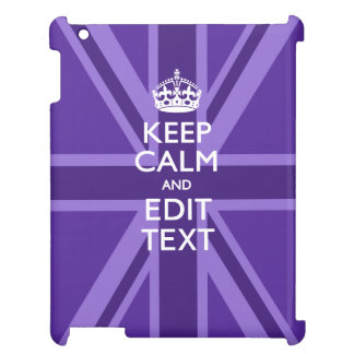 Purple Chic Keep Calm And Your Text on Union Jack iPad Case