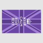 Purple Chic Keep Calm And Your Text Union Jack Stickers