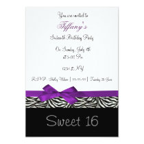 purple chic Sweet Sixteen party Invitation