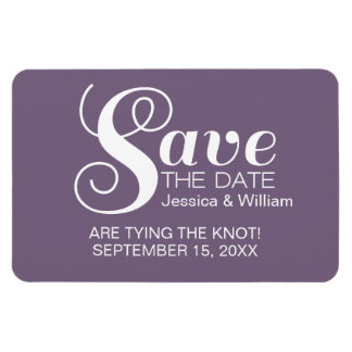 Purple Chic Typography Save the Date Magnet