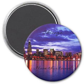 Purple CHicago Refrigerator Magnet