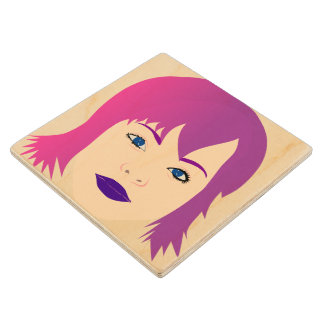 Purple Chick For Invisible Illness Awareness Wooden Coaster