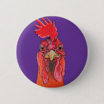 Purple chicken pinback button