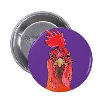 Purple chicken pinback button