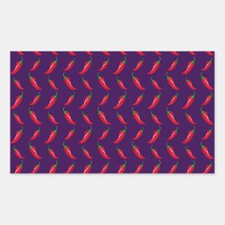 purple chili peppers pattern rectangle sticker