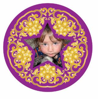 Purple Chinese Christmas Personalized Ornament Photo Cutouts