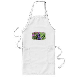 Purple Chinese Crested Dog in Pink Flowers Long Apron