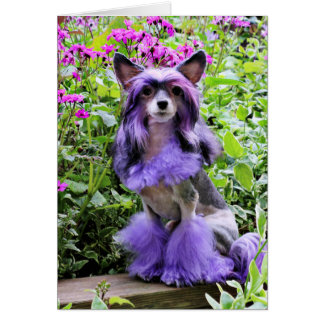 Purple Chinese Crested Dog in Pink Flowers Card