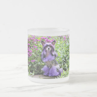 Purple Chinese Crested Dog in Pink Flowers Frosted Glass Coffee Mug