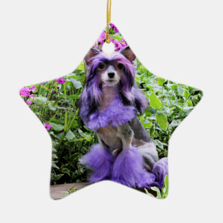 Purple Chinese Crested Dog in Pink Flowers Christmas Tree Ornaments