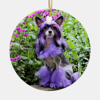 Purple Chinese Crested Dog in Pink Flowers Christmas Ornament