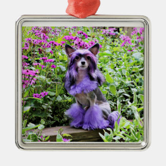 Purple Chinese Crested Dog in Pink Flowers Ornament