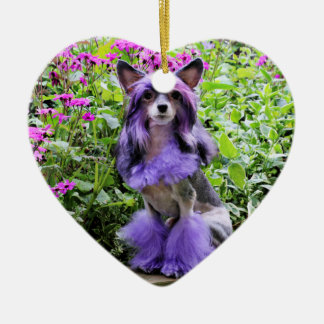 Purple Chinese Crested Dog in Pink Flowers Christmas Tree Ornament