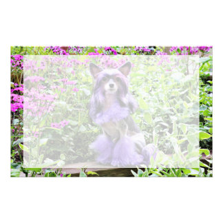 Purple Chinese Crested Dog in Pink Flowers Stationery