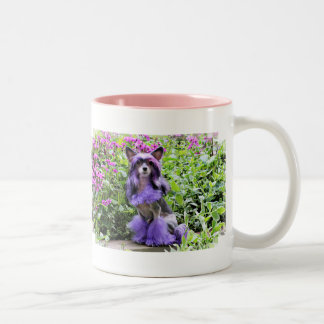 Purple Chinese Crested Dog in Pink Flowers Two-Tone Coffee Mug