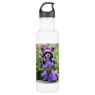 Purple Chinese Crested Dog in Pink Flowers Water Bottle
