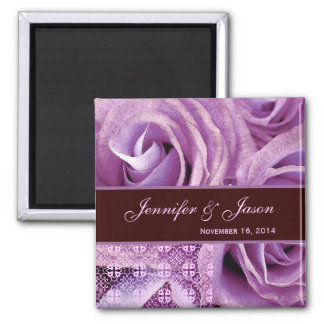 Purple & Chocolate Wedding Lace Rose Bouquet 2 Inch Square Magnet