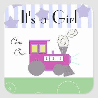 Purple Choo Choo Train Baby Shower Square Sticker