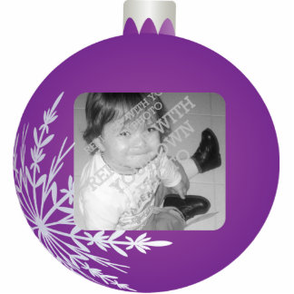 Purple Christmas Ball Ornament Photo  Frame