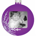 Purple Christmas Ball Ornament Photo  Frame Photo Sculpture Ornament